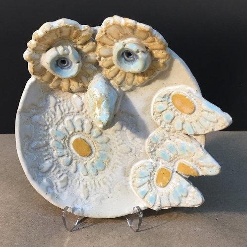 Ceramic white owl small dish by artist Janie Friedland