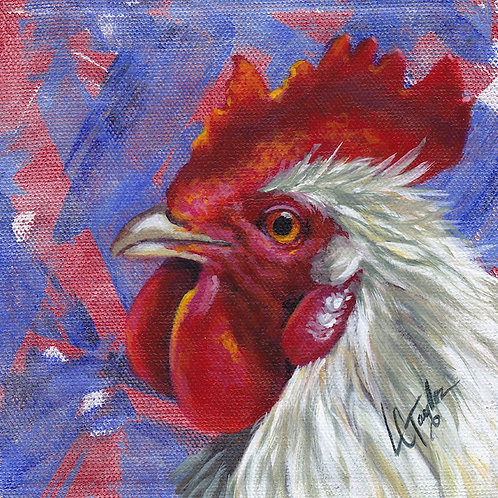 White Rooster giclee print on canvas by artist Lee Taylor