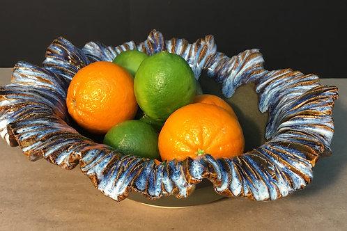 Ceramic bowl with crinkle edge, brown & navy,  by artist Lynda Rix