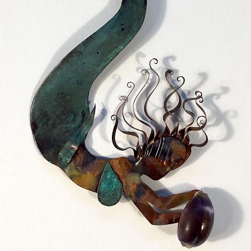Metal mermaid by artist Elizabeth Lemoine