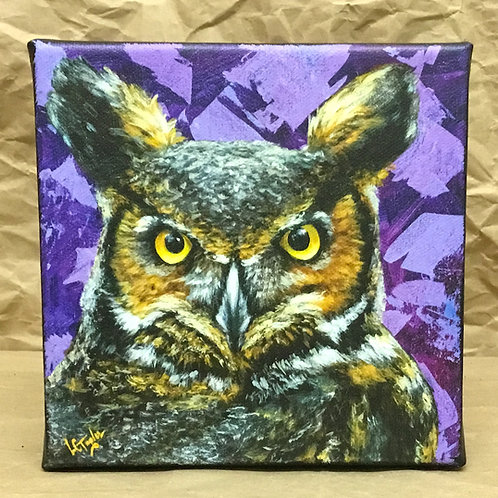 Great Horned Owl giclee print on canvas by artist Lee Taylor