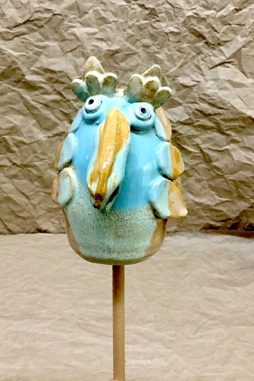 Ceramic bird for yard or garden by artist Janie Friedland