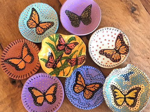 Ceramic butterfly dishes by artist Sandy Mann