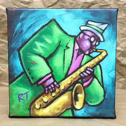 Saxophone player giclee print on canvas by artist Russ Taylor
