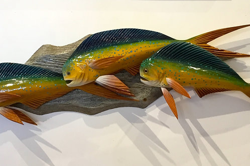 Handcarved Mahi group wood sculpture  by artist Frank Gabriel