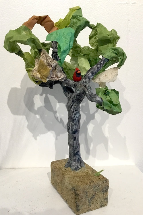 Mixed media tree with Cardinal by artist Lee Taylor