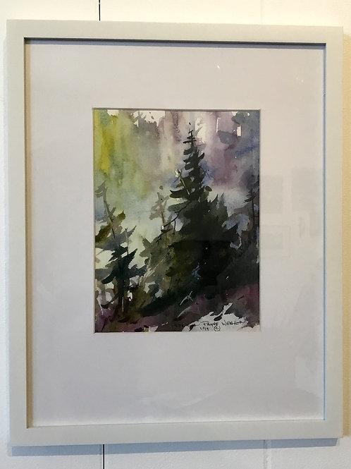 11x14 original framed watercolor by artist Pat Weaver