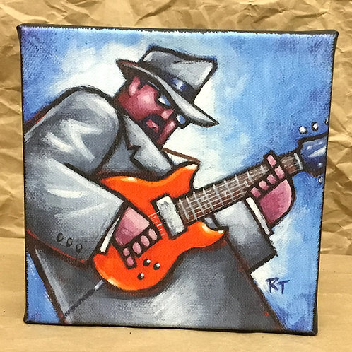 Red electric guitar giclee print on canvas by artist Russ Taylor