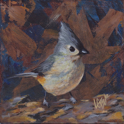 Tufted Titmouse bird giclee print on canvas by artist Lee Taylor