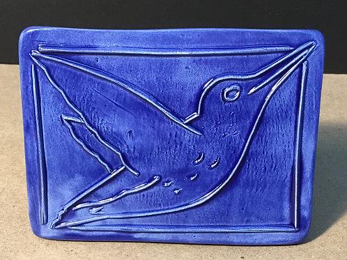 Hummingbird ceramic art, navy glaze, by artist Lee Taylor