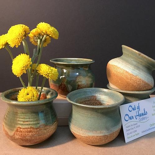 Ikebana ceramic vase, green glaze, by artist Carol Khonke