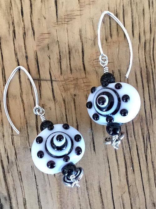 Lampwork glass bead earrings by artist Connie Parkinson