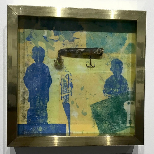 9x9 framed Clay monoprint  by artist Deborah Gillars