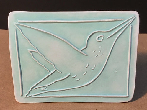 Hummingbird ceramic art, seafoam glaze, by artist Lee Taylor