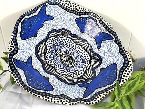 Ceramic fish bowl by artist Sandy Mann