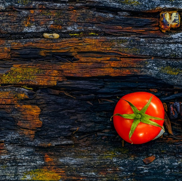 The Man With the Round Tomatoes in the Square Basket