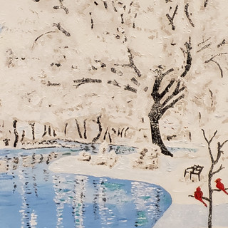 Ice Pond with Cardinals - Oil on Canvas