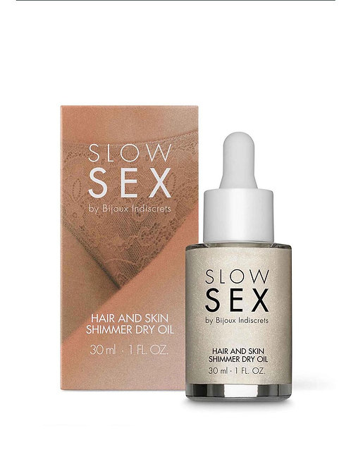 BIJOUX INDISCRETS SLOW SEX HAIR & SKIN SHIMMER DRY OIL