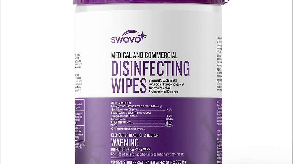 FDA Approved; Swovo EPA-Approved Disinfectant Wipes