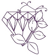 Purple outline of diamond covered in flowers for Diamond Dates logo