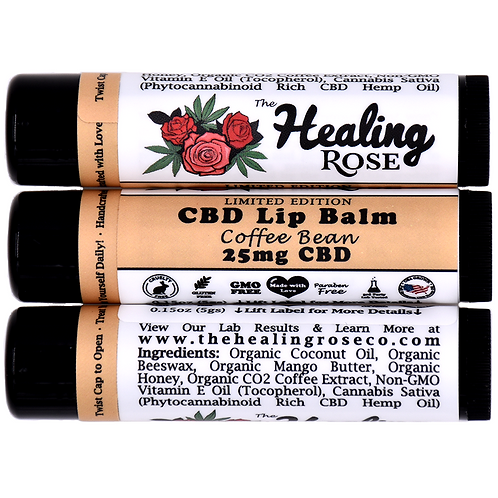 The Healing Rose Co. - 25mg CBD Lip Balm, Coffee Bean