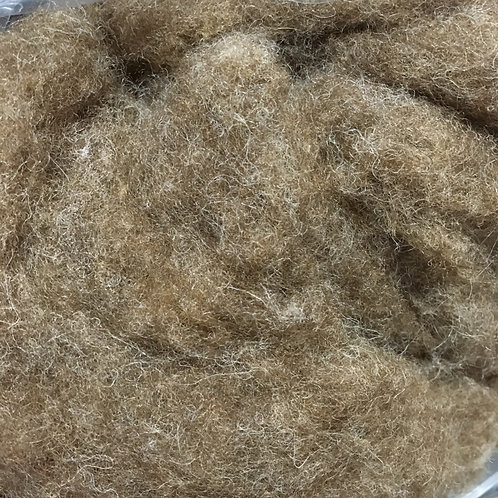NATURAL BROWN CARDED WOOL BATT 50g