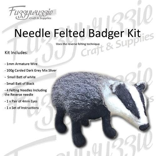 Needle Felted Badger Kit