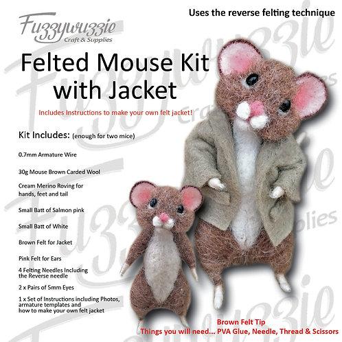 Needle Felted Mouse Kit with Jacket