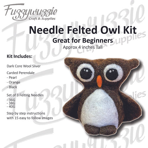Needle Felted Owl Kit - Beginners Kit WITH YOUTUBE VIDEO