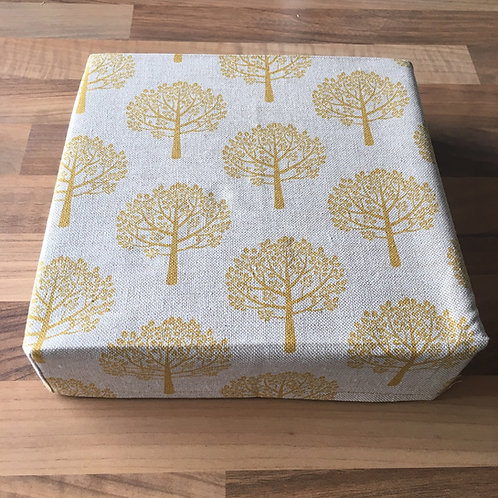 "8"" x 8"" x 2"" Cotton Felting Mat Cover Mustard trees"