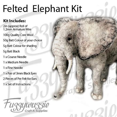 "Needle Felted Elephant Kit 7"" Tall"