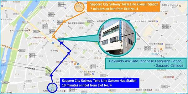 Hokkaido AskGate Japanese Language School - Sapporo Campus Access Map