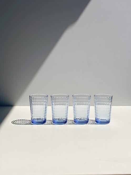 blue prism juice glasses (set of 4)