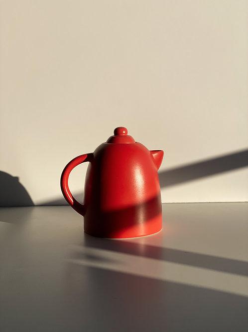 vintage coral red ceramic teapot