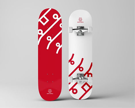 Red logo depicting temple placed on a white skatebord.