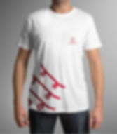 Red logo depicting three skateboards. Logo is placed on a white t-shirt, in the bottom left corner.