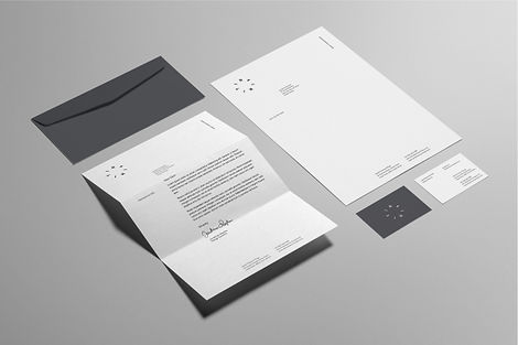 Grey and white business stationery for a men's ring manufacturer. This set contains envelope, letterhead and two business cards.