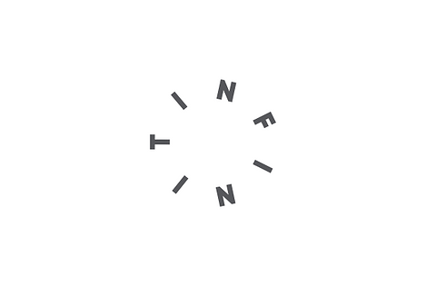A light grey, circular logo design on a dark grey background. Designed for a manufacturer of a contemporary titanium rings for men.