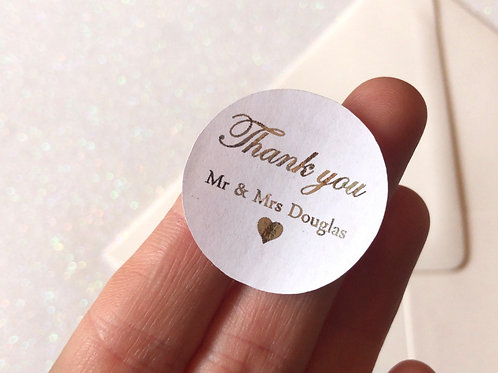 Thank You Italic Style Personalised Stickers (Pk 20)