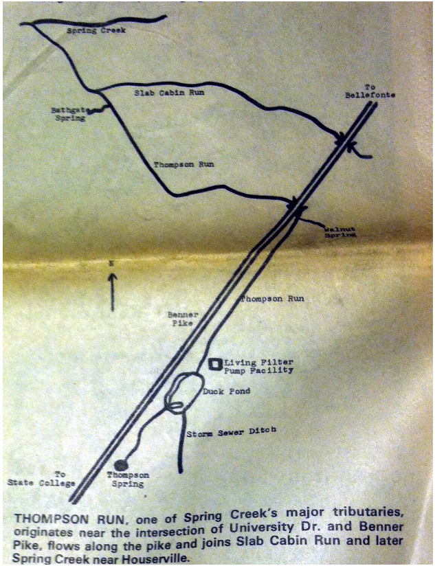 Map of Thompson Run at Duck Pond