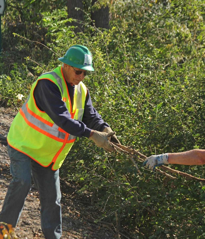 Joe Humphreys Clearing the dike in 2016