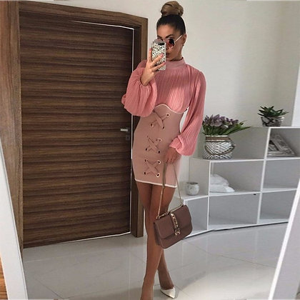 Pink High Neck Long Sleeve Mini Fashion Bodycon Dress