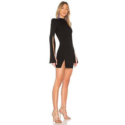 Black High Neck Long Sleeve Mini Split Sleeve Sexy Bandage Dress
