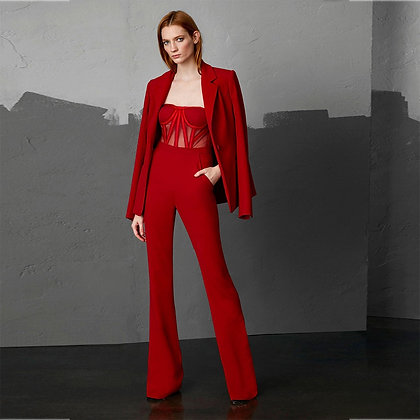 Red Long Sleeve 2 Piece Mesh Body Jumpsuit Red