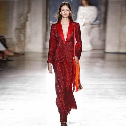 RED V Neck Sequins Suit