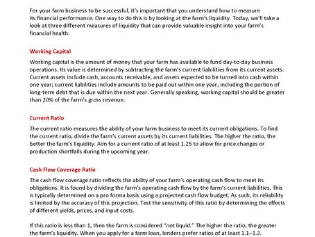 Farm Financials: Profitability & Liquidity