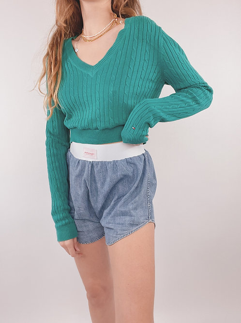 PULL UPCYCLÉ TOMMY HILFIGER TURQUOISE