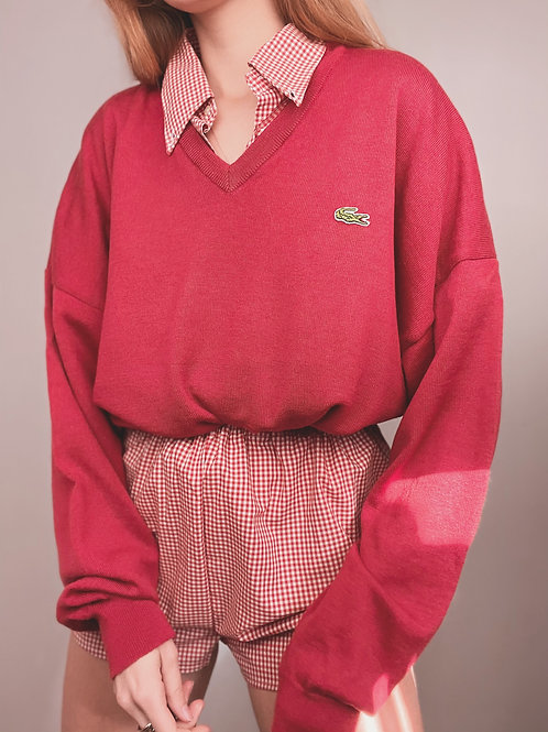 PULL LACOSTE VINTAGE ROUGE