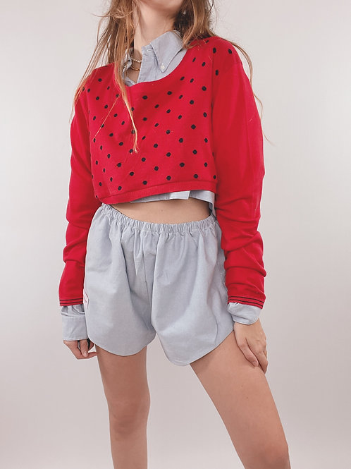 PULL UPCYCLÉ TOMMY HILFIGER ROUGE POIS