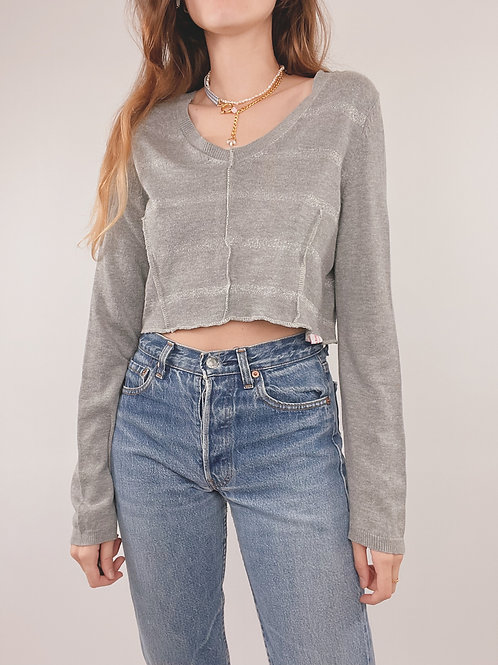 PULL UPCYCLÉ TOMMY HILFIGER GRIS